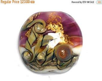 ON SALE 35% OFF Cranberry Treasure Lentil Focal Bead - Handmade Glass Lampwork Bead 11818402