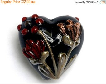 ON SALE 30% off Copper Shadow Heart Focal Bead 11834005 - Handmade Glass Lampwork Beads