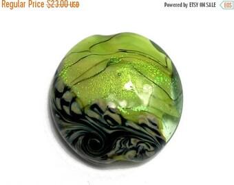 ON SALE 30% off NEW! 11837302 Spring Green Shimmer Lentil Focal Bead - Handmade Glass Lampwork Bead