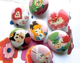 Handmade Kawaii Children Pink White Alice In Wonderland Children Fabric Covered Buttons, Children Room Fridge Magnets, 1.25' 7's