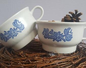 Vintage set of 2 tea cups floral blue ceramic .