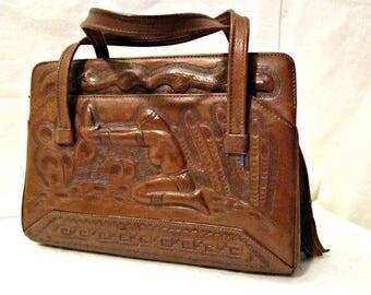 Leather Bag, Tooled Leather Purse,  1950s Handbag,  Hand Tooled Leather Satchel,  Handcrafted purse