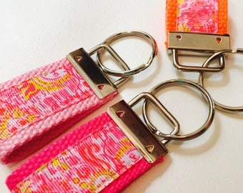 Hot Pink Keychain, Lilly Inspired Keychain, Lilly Key Fob, Lilly Summer Fancy Keychain, Key Ring, Gift for Her, Chapstick Holder