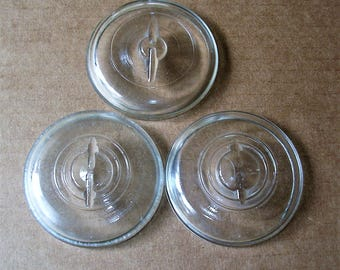 Vintage Clear Glass Jar Lids Vintage Clear Glass Canning Jar Lids For Wire Bail Jars Mason Ball Atlas Jars 3 ""