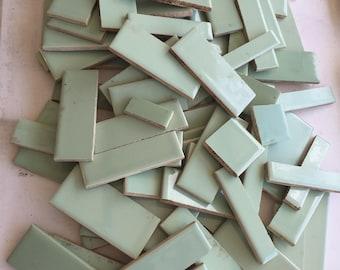 Vintage Tile Mint Green 4 x 4 Scraps - for Mosaic or Home Repair - Ceramic Tiles