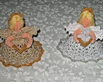 Two Little Christmas Angels on dressed Metallic Thread, silver and white, neutral and gold