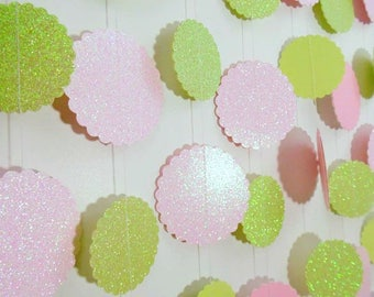 Blush Pink and Green Glitter Scalloped Circle Garland, Pink Baby Shower Decoration, Party Decor