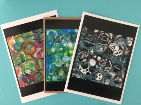 Original Art Cards Set of 3 FREE HIPPING Blank Greeting Cards Art Prints Handmade Cards