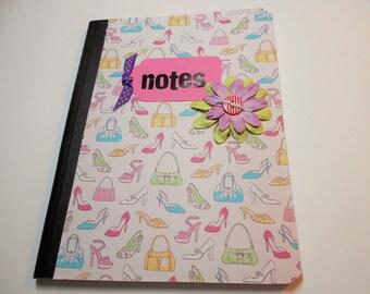 Altered Composition Book,Notebook, Journal, Blank Book, Composition Book, Shopping Notebook, Shoes, Purses, Bound Notebook
