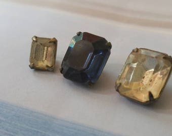 Vintage buttons 3 assorted emerald cut rhinestone, clear and sapphire solitaire style metal settings 1950's  (aug 275 17)