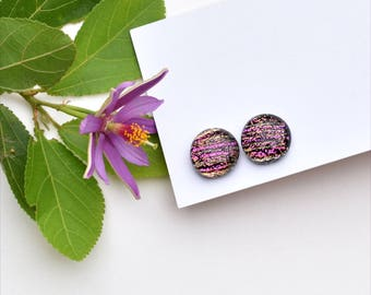299 Fused dichroic glass earrings, slightly oval, pink striped