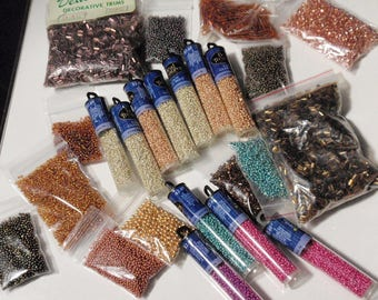 Vintage Seed Bead Stew Almost 2 Pounds of Glass Beads in Multi Color Metallics Destash Vintage to New  A10