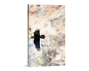 Raven Art, Raven Photograph, Bird Art, Bird in Flight, Bird Photography, Wildlife Art, Canvas Photograph, Vertical Art Print, Canvas Print