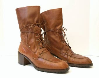 Vintage Joan & David Brown Tie Ankle Granny Boots Womens 10M 90s
