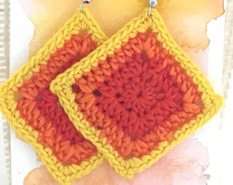 Crochet diamond orange and yellow summertime earrings bridesmaid Mother's Day gift for her