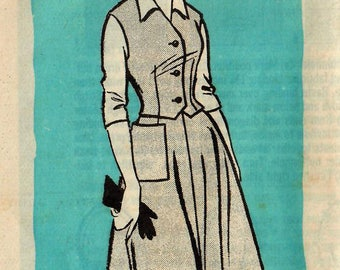 1950s Mail Order 9449 UNCUT Vintage Sewing Pattern Misses Half Size Flared Skirt, Vest or Weskit, Blouse Size 18-1/2 Bust 39