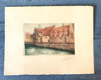 antique watercolor etching - hand pulled print - Bruges Maison du Pelican