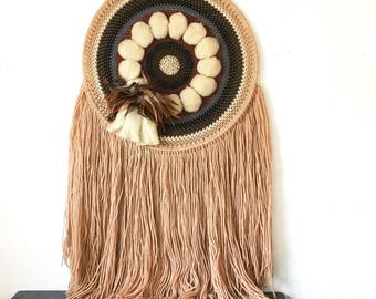vintage wall weave - woven wall hanging - extra large boho dreamcatcher - fringe feathers - beige ivory blue