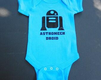 Baby Bodysuit - Astromech Droid - One Piece Baby Creeper - Blue