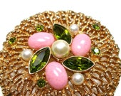 """70s Sarah Coventry brooch, Faux Pearl, Peridot Green, Pink Mauve Goldtone Large Brooch. 2.5""""."""