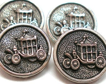 "Carriage Buttons, 4 vintage plastic buggys in silver. Princess, Cinderella. 5/8""."