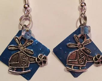 Helicopter recycled can earrings