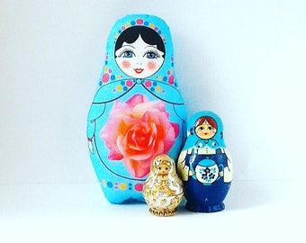Matryoshka Plush, Fabric Russian Doll, Babushka Softie, Nesting Doll Decor, Stuffed Babushka Doll, Doll Ornament