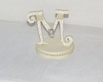 Wedding initial M cake topper ivory pearl monogram cake topper wedding decor wedding cake topper ivory pearl cake topper cake decoration