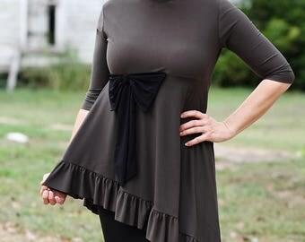 LillyAnnaLadies Mandy Peplum Bow Shirt top LALA