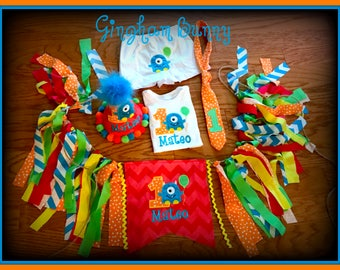 Little Monster Cake Smash Set, 5 Pc.,  First  Birthday Hat, Bodysuit, Boxers, Tie and High Chair Banner  by Gingham Bunny