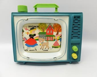 Vintage Ohio Art musical wind-up television - School Days - music and movement