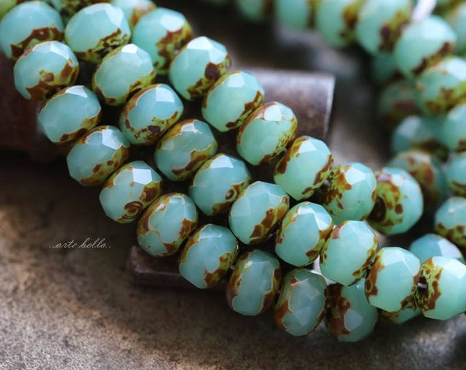 LAGOON BABIES No. 2 .. NEW 30 Premium Picasso Czech Rondelle Glass Beads 3x5mm (5894-st)