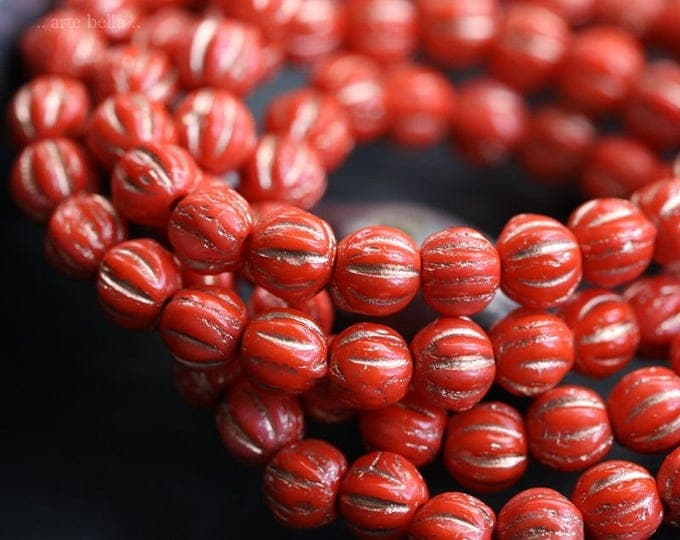 GILDED CORAL MELONS .. New 50 Picasso Czech Melon Beads 4mm (6125-st)