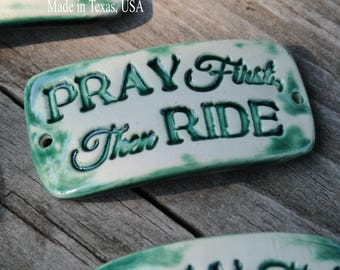 Pottery cuff bead, Pray First in Emerald Green