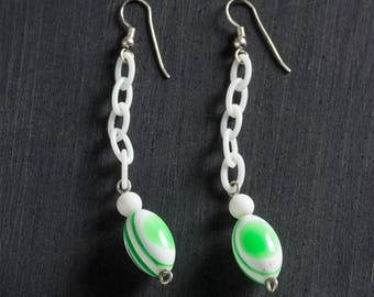 60% OFF SALE Green & White Striped Vintage Lucite Drop Dangle Bead Earrings, White Plastic Chain w/ Sterling Silver Ear Hooks Wires Jewelry