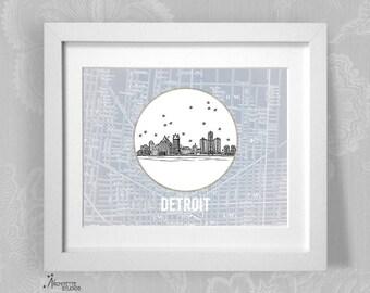 Detroit, Michigan - United States - Instant Download Printable Art - Vintage City Skyline Map Series