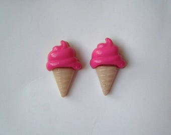 ♥ Raspberry ice cream cone earrings