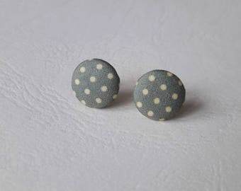 Fabric - green with yellow dots round earrings