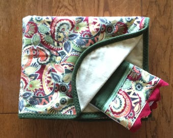 NEW...Paisley Flannel Blanket and Burp Cloth Set...Ready to Ship