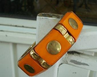 Brass Studded and Orange Wood Bangle Bracelet / Mid Century Modern Geometric Design