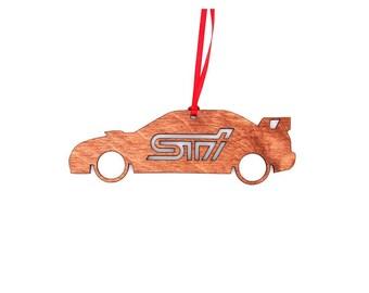 Wooden Second Gen Subaru STI Sedan Ornament