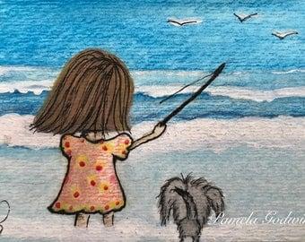 Fishing Day Island Girl ORIGINAL Watercolor ACEO 2.5 x 3.5 ATC by Pamela Godwin Manning