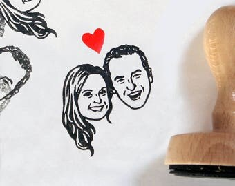 Personalized gift custom portraits stamp / wedding favor Save the date / couple / mr mrs handle / for rustic gift invitation thank you