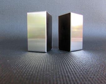 Carl Auböck Neuzeughammer Austria Salt & Pepper, Mid Century Austrain Modern Design, Amboss, Neuzeughammer Stainless Steel/Wood