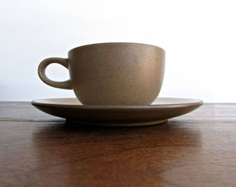 Edith Heath Pottery of California, Flat Cup & Saucer Set, Sandalwood w/ Vellum Finish, Heath Coupe Line, American Modern Design