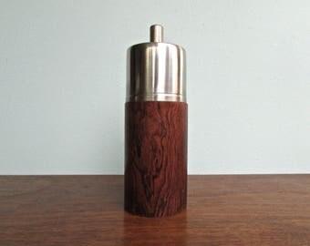 Erik Herlow Designed Mid Century Danish Modern Pepper Grinder, Stainless Steel & Rosewood, Made in Denmark
