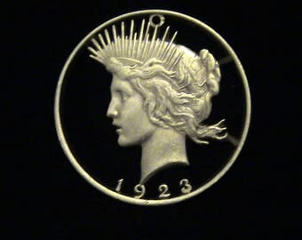 USA - 1923 - Silver Peace Dollar - cut coin pendant - She's a Beauty