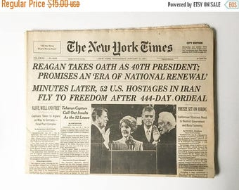 SALE Reagan Inauguration Newspaper 1981 Complete Newspaper Historical Newspaper Collectible Newspaper New York Times