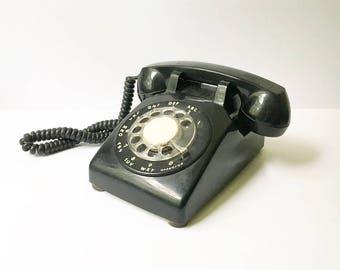 Rotary Phone black telephone 1970s phone Vintage phone Desk phone