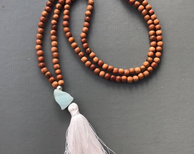 SALE- BEACH  amazonite and wood long tassel mala necklace , long beaded necklace , mala necklace , wood necklace, beaded necklace, tassel